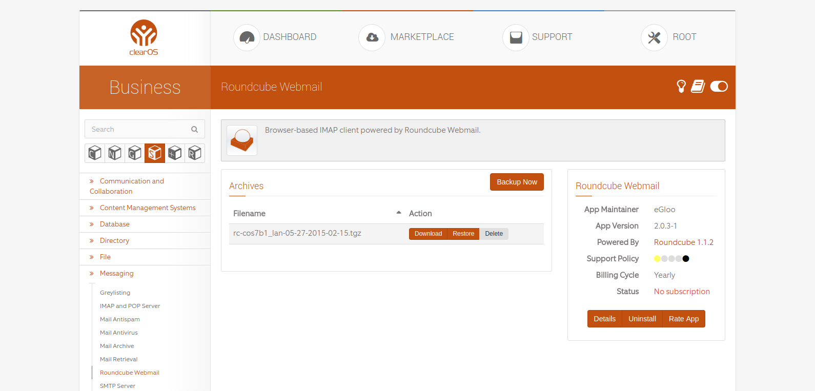 ClearOS App - Roundcube Webmail
